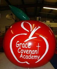Trade show balloons - 7ft. helium apple balloons.